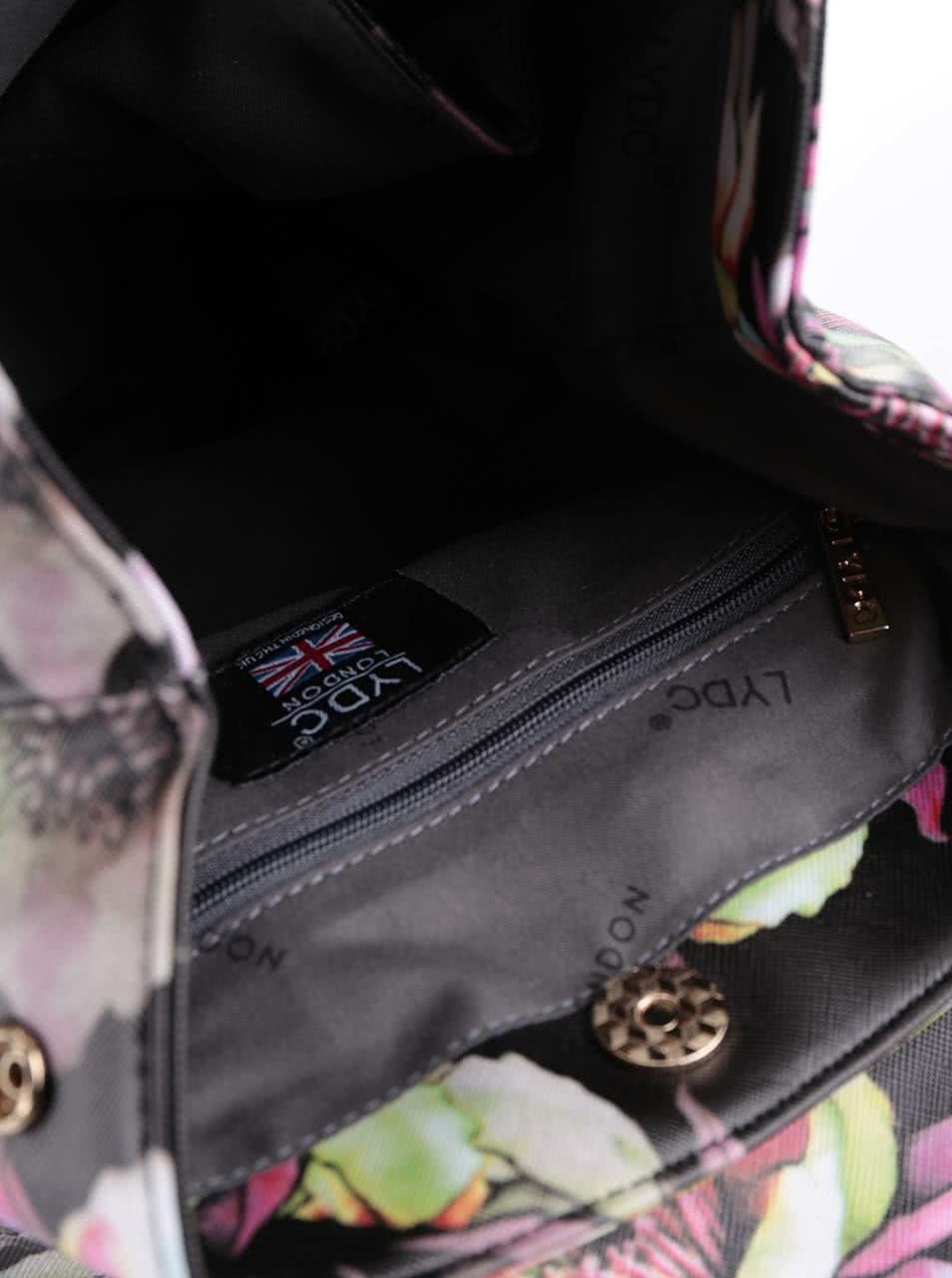 Černý menší batoh s barevným potiskem květin LYDC ... 15a7b0afbf