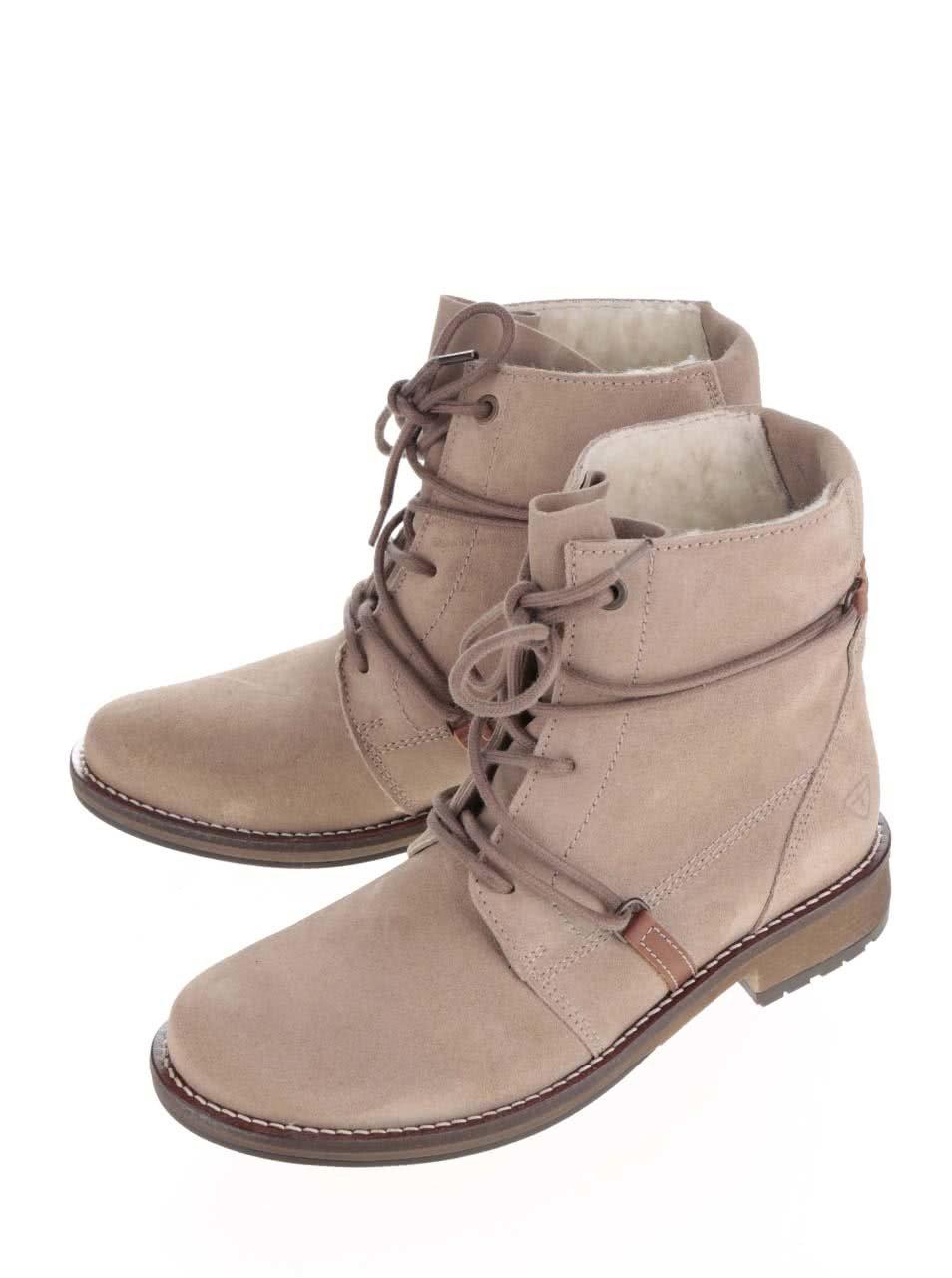 eb29daf1473d Béžové semišové členkové topánky s neobvyklým šnurovaním Tamaris ...