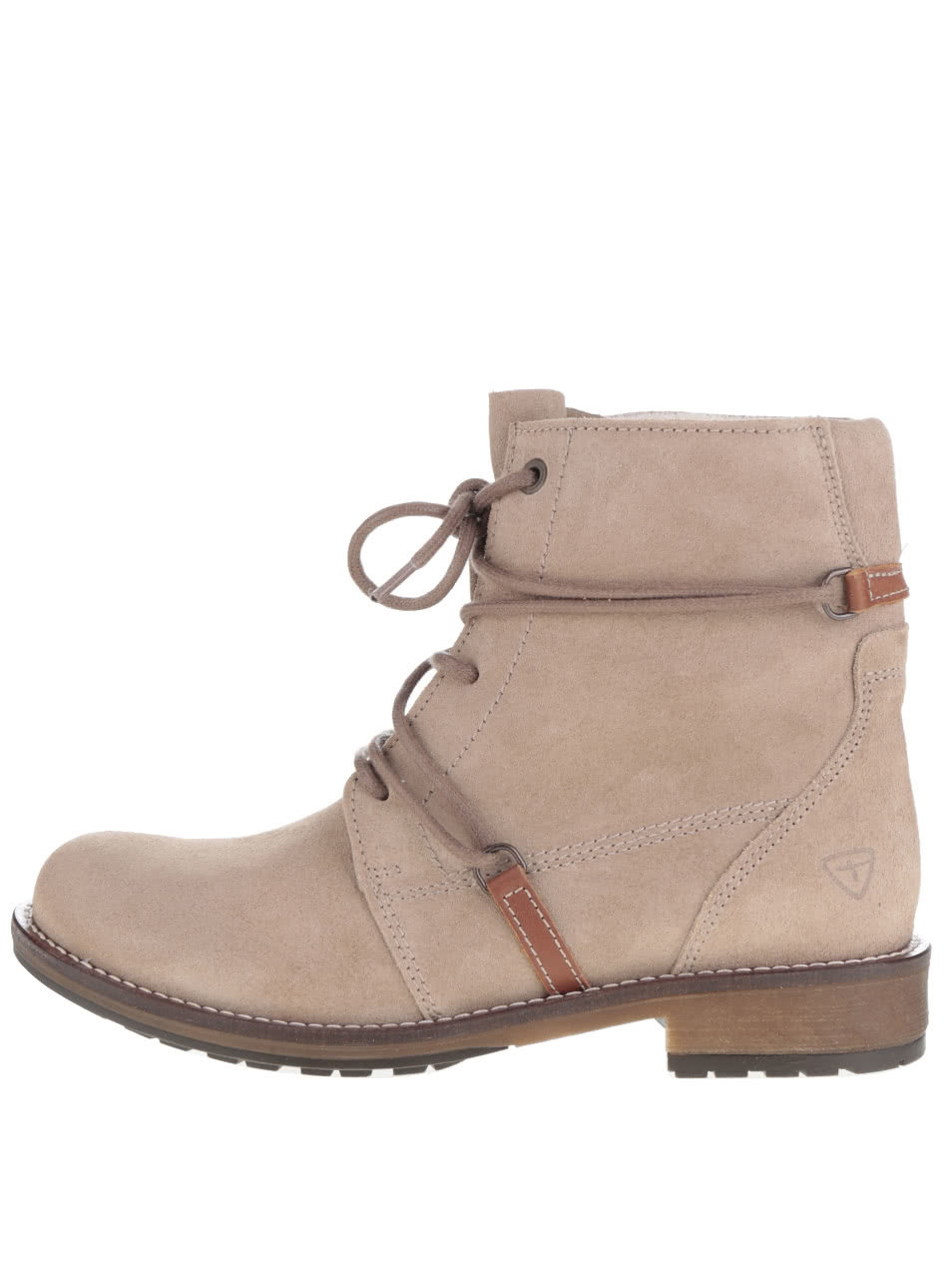 c2898ae96688 Béžové semišové členkové topánky s neobvyklým šnurovaním Tamaris ...