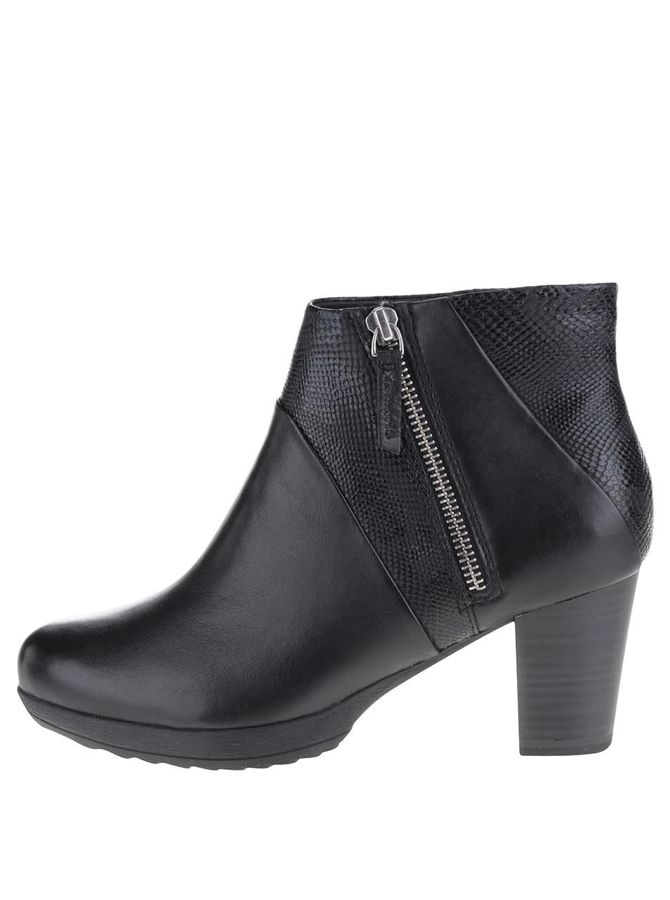 c505ac7d84149 Čierne vzorované členkové topánky na podpätku Tamaris | ZOOT.sk