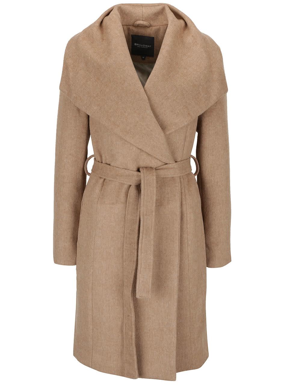 532aa2c6dc Béžový dámský kabát s páskem Broadway Remi ...