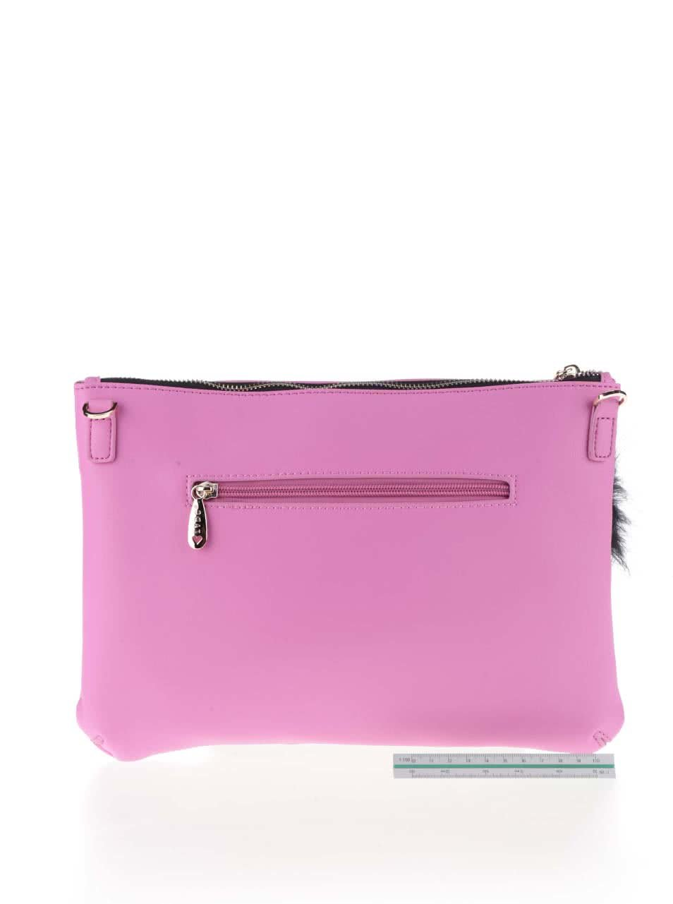 0dde2e3a17 Ružová listová kabelka s čiernym motívom psa a aplikáciou LYDC ...