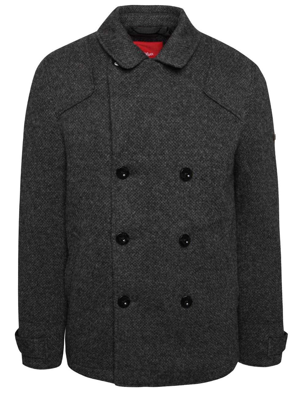 1f14bd51a8ee Šedý pánský kabát s.Oliver