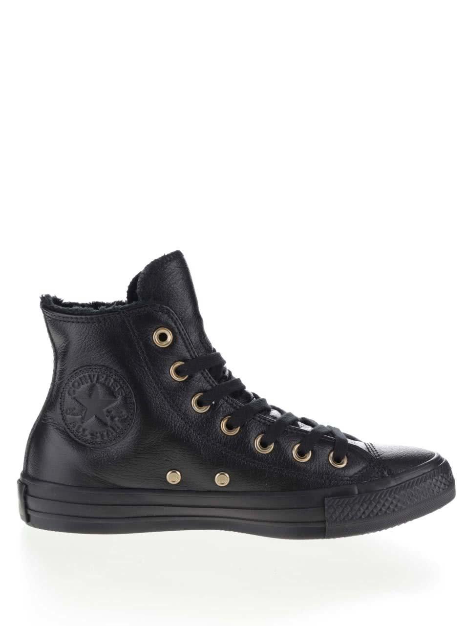 Černé dámské kožené kotníkové tenisky Converse Chuck Taylor All Star ... d7a8e59cc7b