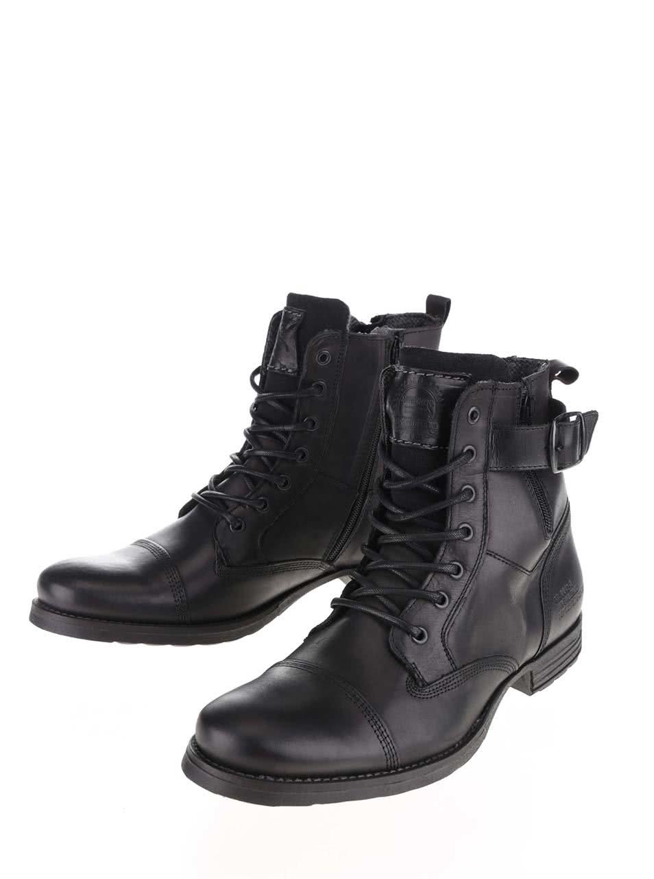 4051013f0f6a Čierne pánske kožené topánky s prackou Bullboxer ...