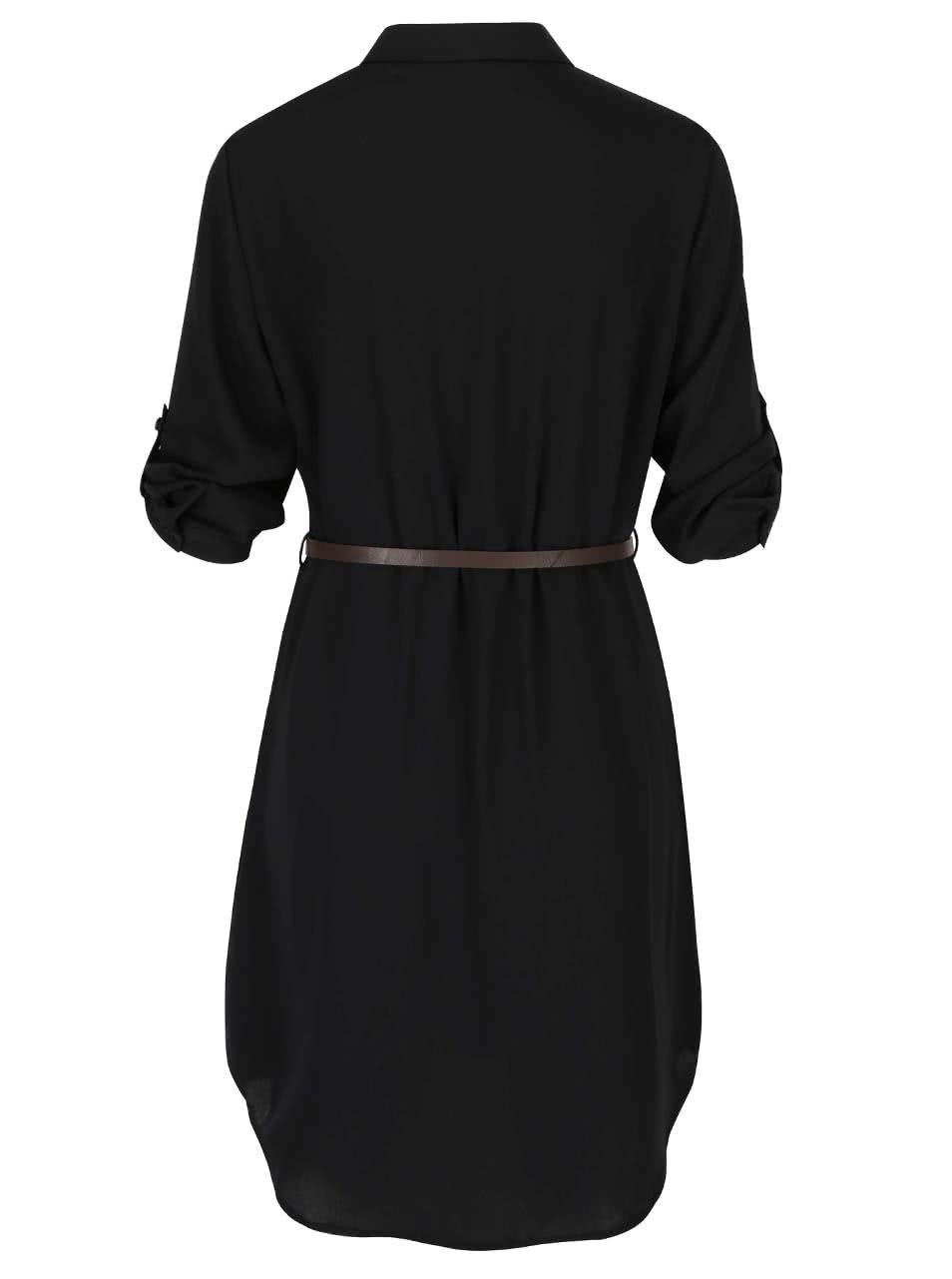 fec6f7274fc5 Čierne košeľové šaty s opaskom VERO MODA Adele ...