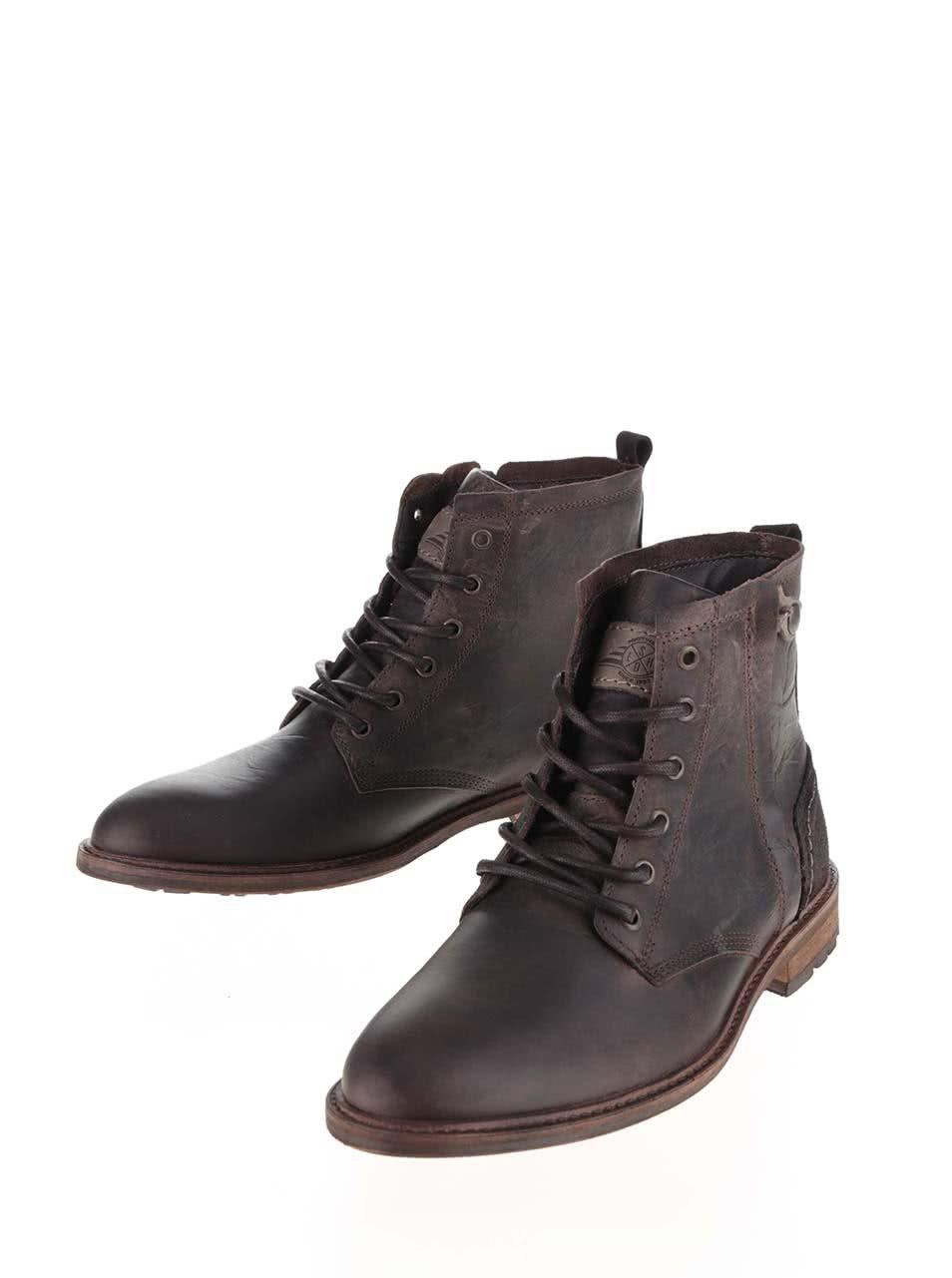 Tmavohnedé pánske kožené topánky so zipsom Bullboxer ... 2f6bcee1ce6