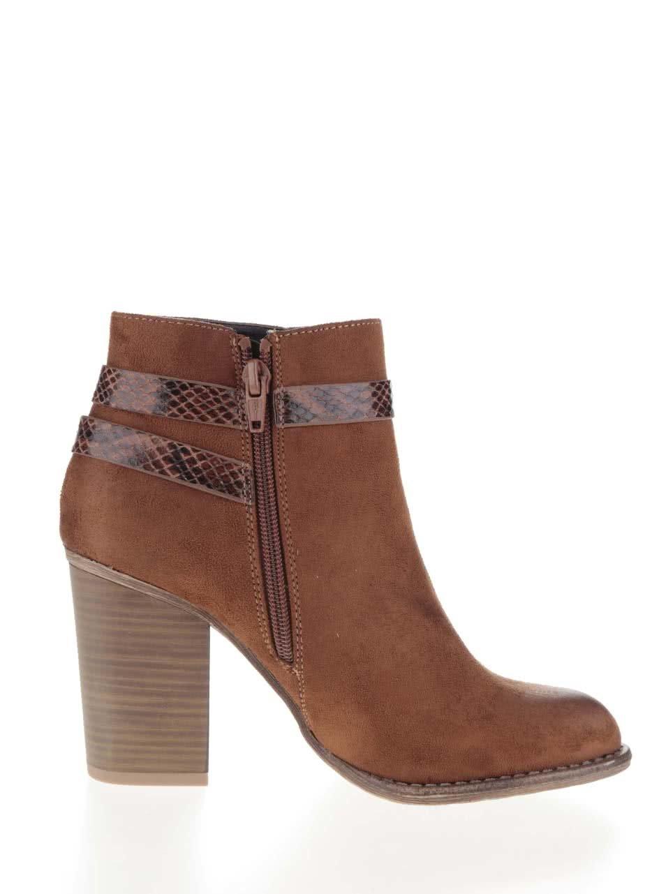 bca63750c2 Hnedé členkové topánky v semišovej úprave na podpätku Dorothy Perkins ...