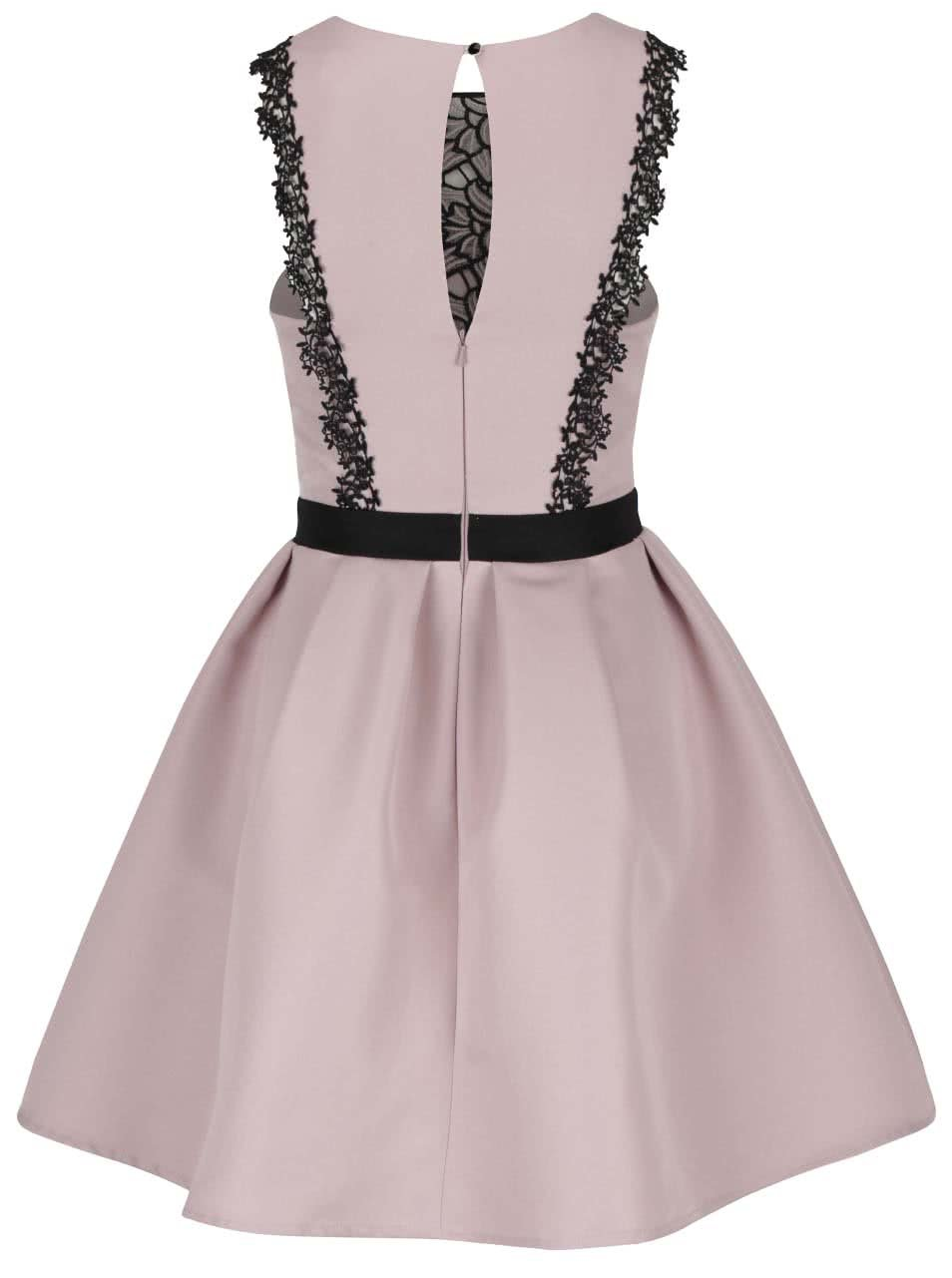 fffebf33c Staroružové šaty s čiernym čipkovým detailom Little Mistress   ZOOT.sk