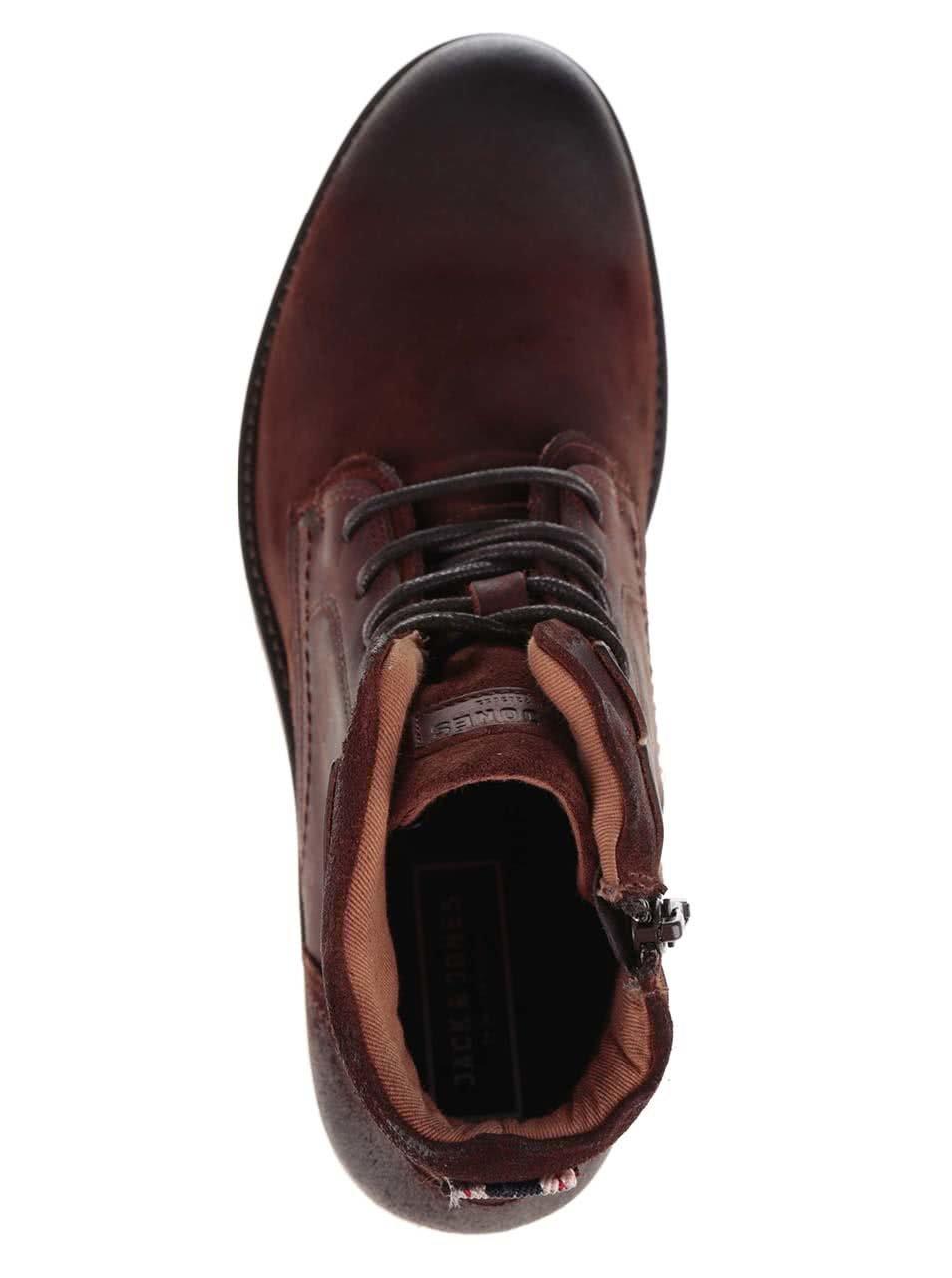 3958d9982082 Hnědé kotníkové kožené boty Jack   Jones Hanibal ...