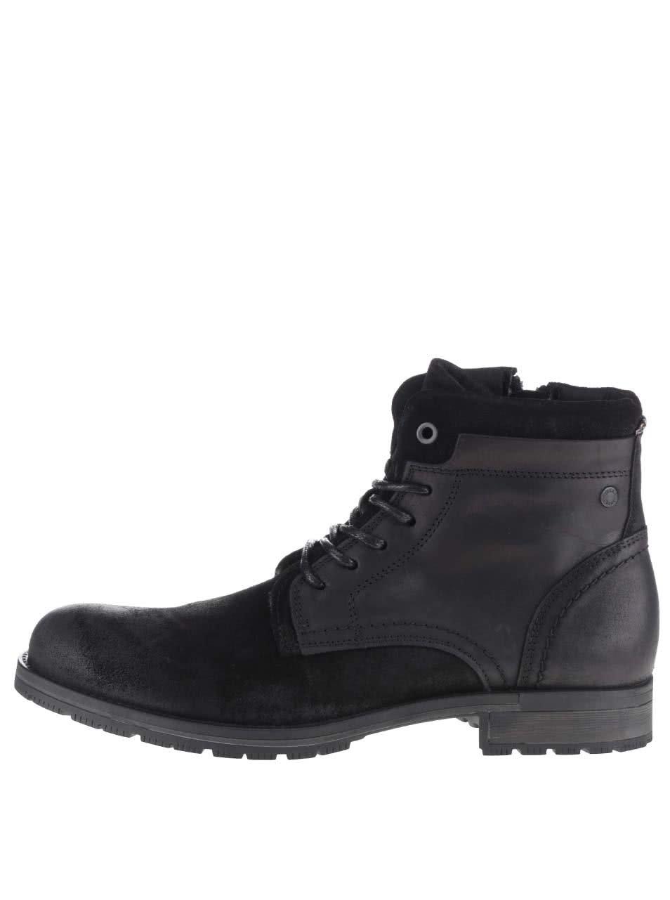 217faaba5ee8 Černé kotníkové kožené boty Jack   Jones Hanibal ...