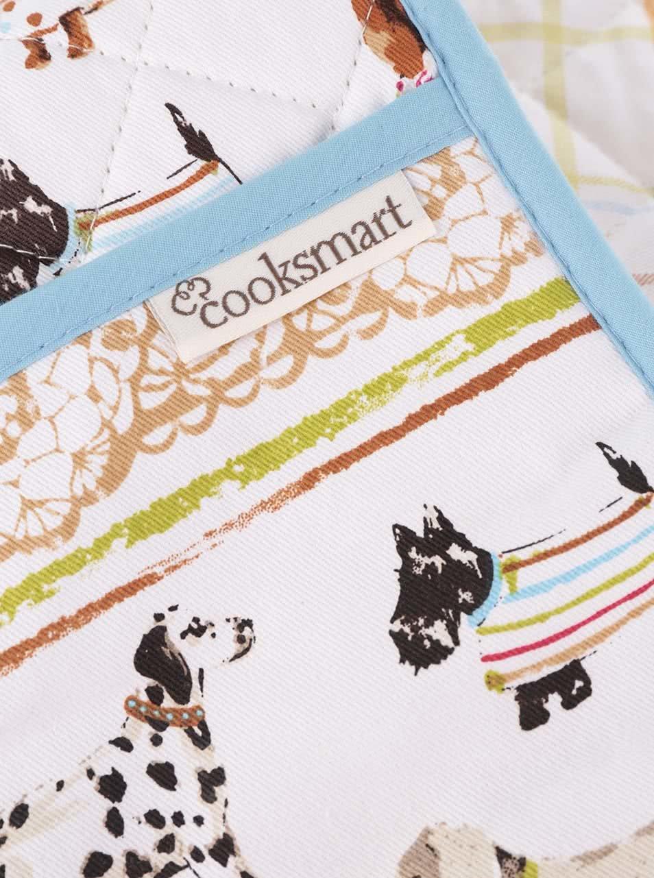 Modro-bílé chňapky s motivem psů Cooksmart Best in show