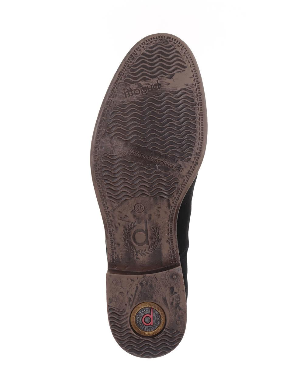 8527113babbf Čierne pánske kožené členkové topánky s gumovou vsuvkou bugatti Lothario ...