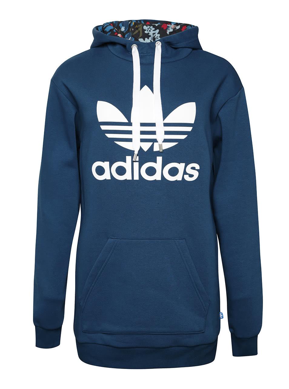fca05c014b Modrá dámska dlhšia mikina s kapucňou adidas Originals ...