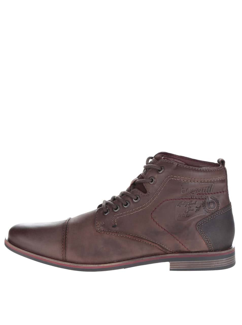 Hnedé pánske kožené šnurovacie členkové topánky bugatti Abramo ... 12f97ba9f0e