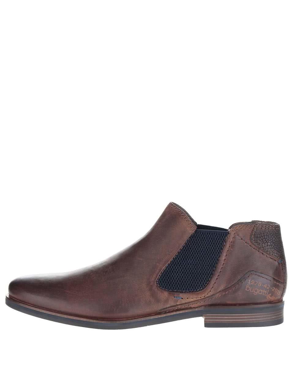 Tmavě hnědé pánské kožené kotníkové chelsea boty bugatti Abramo ... 8c563676e6