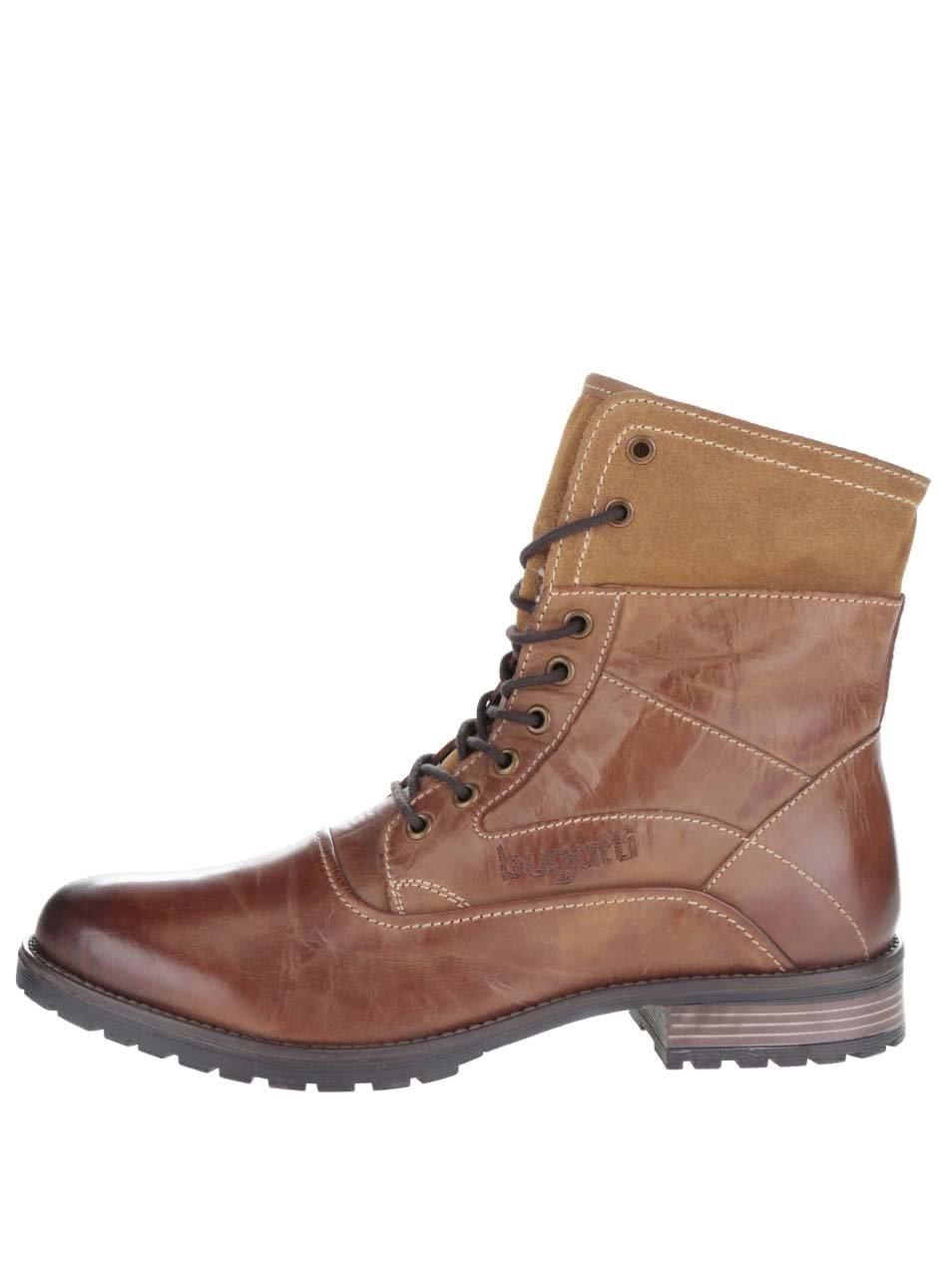 Hnedé pánske kožené členkové topánky s okrúhlym lemom bugatti Freetime ... b74c53c0b8