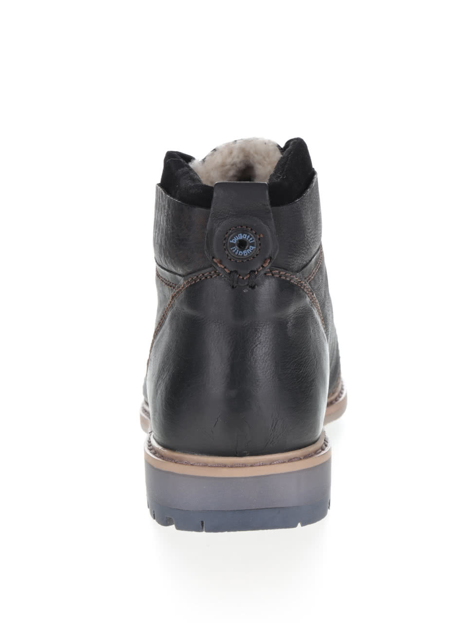 Černé pánské kožené kotníkové boty s umělou kožešinou bugatti Revo ... 0f22375982