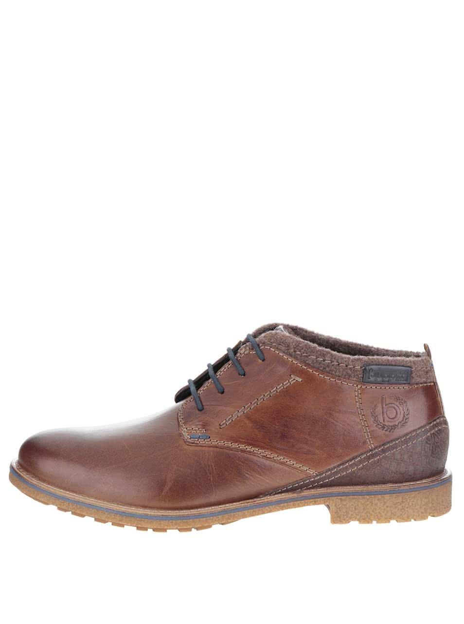 Hnedé pánske kožené členkové topánky bugatti Muno ... 14cfba41516