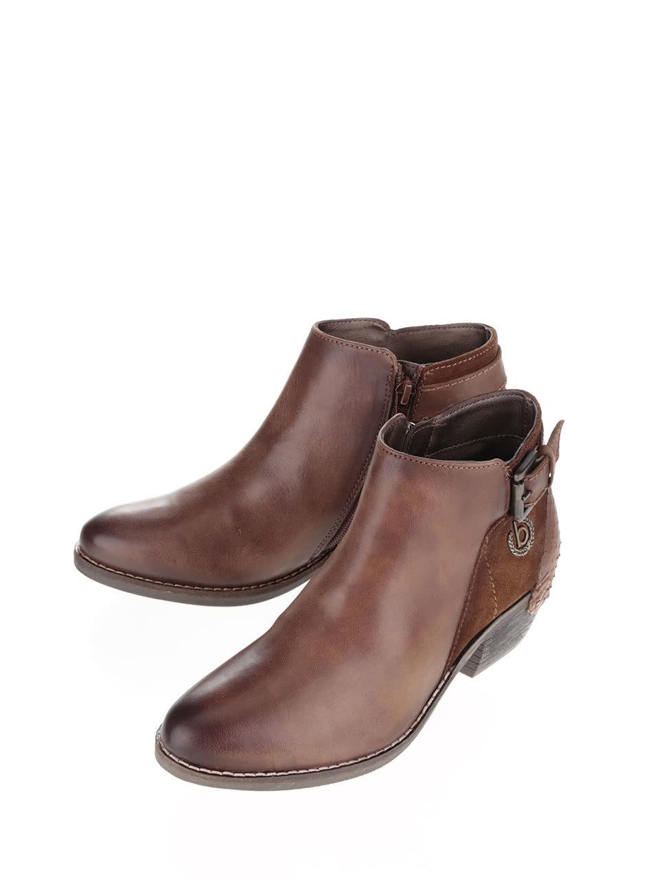 Hnědé dámské kotníkové boty s přezkou bugatti Lusie ... aa6204e9f0
