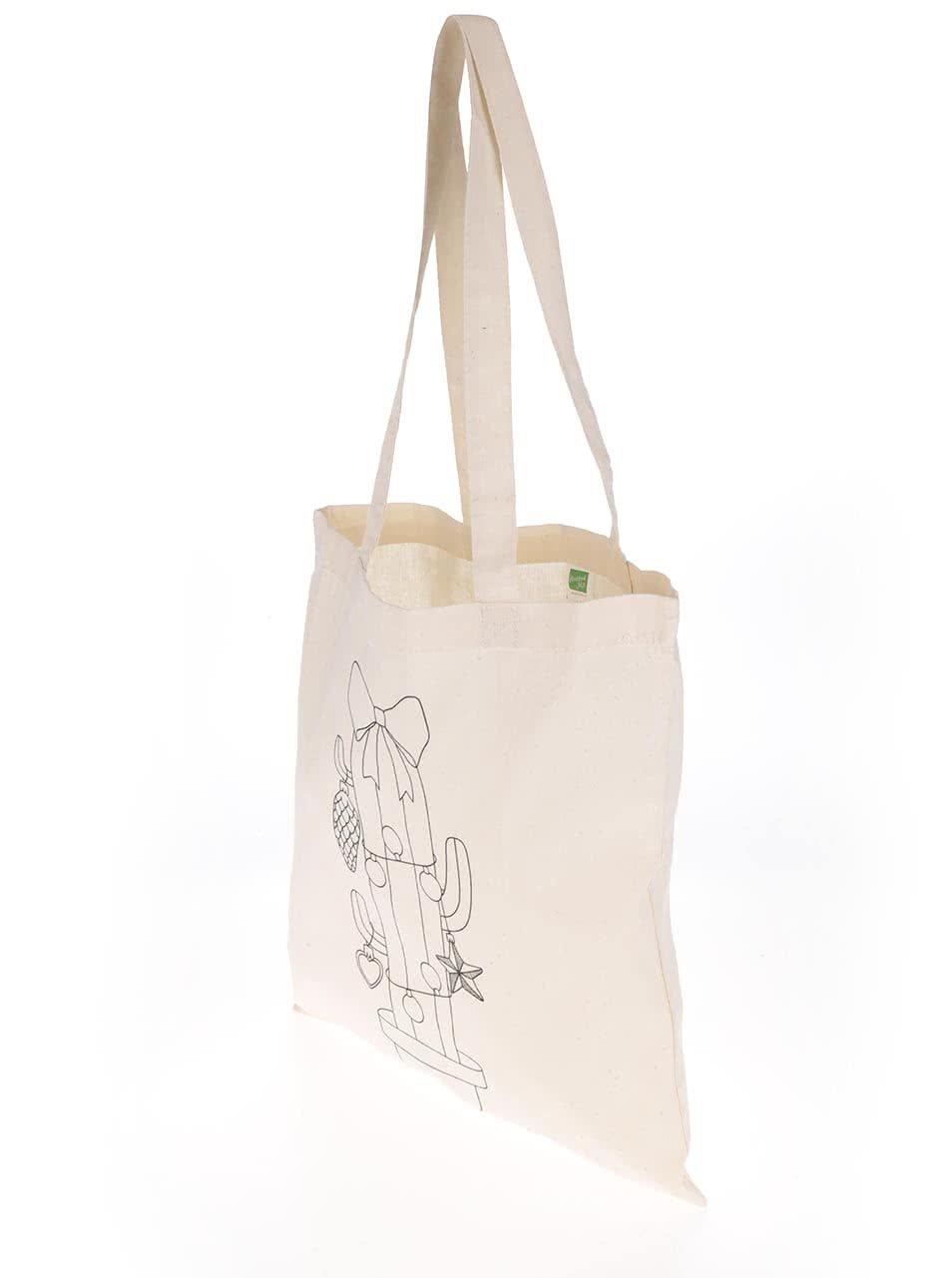 bc1de5c35 Krémová plátěná taška s potiskem ZOOT Originál Vánoční kaktus | ZOOT.cz