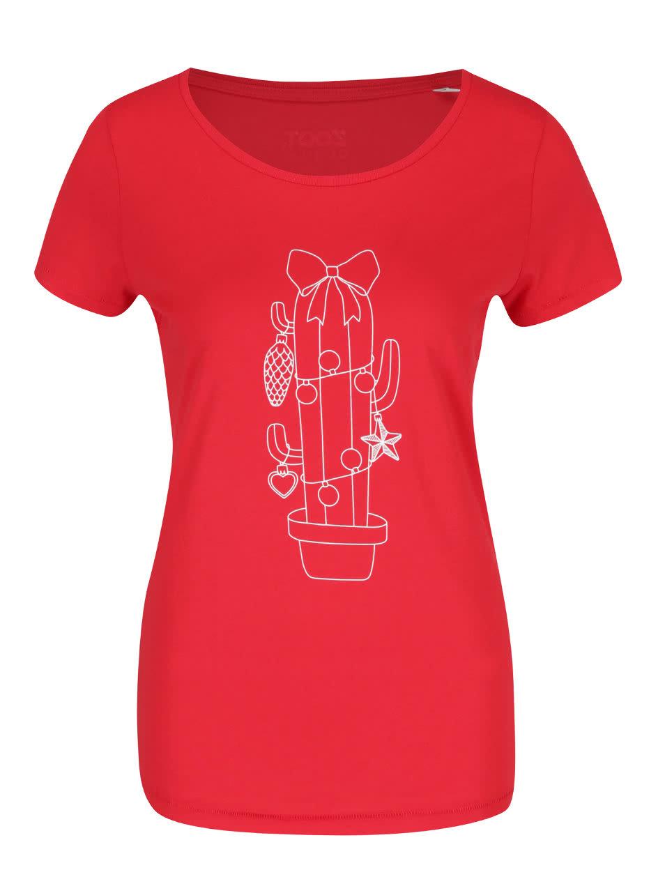 Červené dámské tričko s potiskem ZOOT Originál Vánoční kaktus ... 4a4c83f974