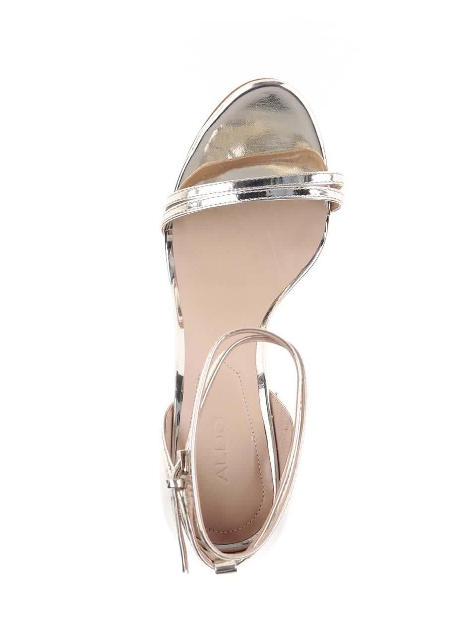 4acc3af175f Lesklé sandálky ve zlaté barvě na jehlovém podpatku ALDO Elivia ...