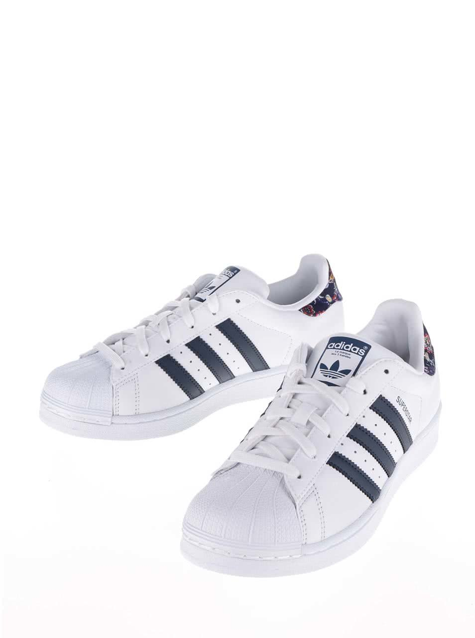 Biele dámske tenisky s farebnou pätou adidas Originals Superstar ... d4013c9d182