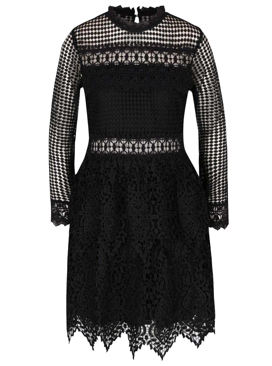 41c6e5fbf99 Černé krajkové šaty s dlouhým rukávem Miss Selfridge ...