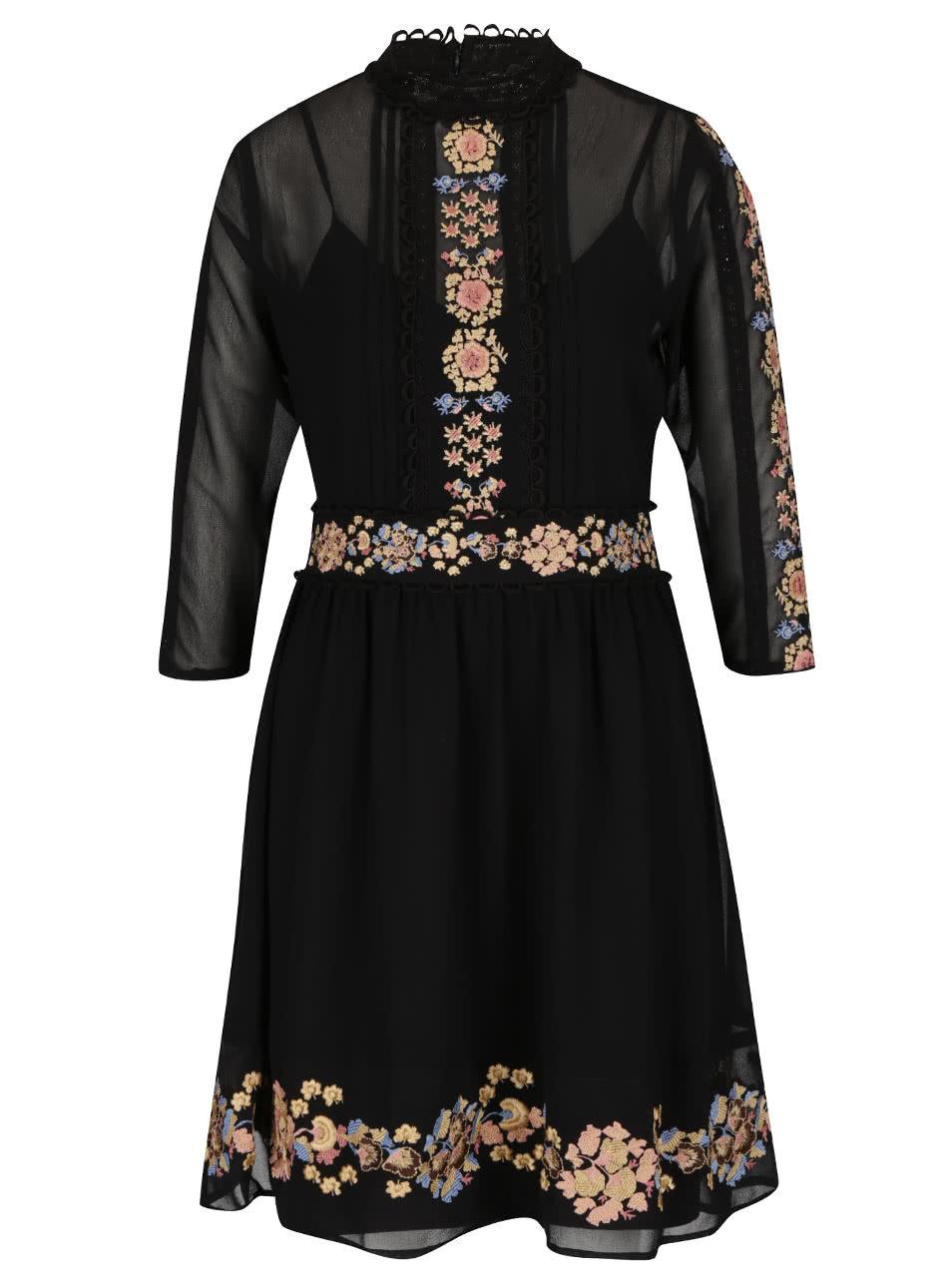 Čierne šifónové šaty s kvetinovými výšivkami Miss Selfridge ... 02f9941746