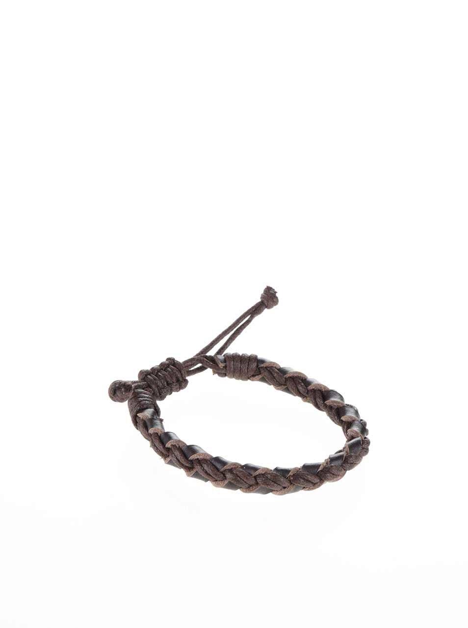 efc9c8340 Tmavohnedý kožený pletený náramok Jack & Jones Wood   ZOOT.sk