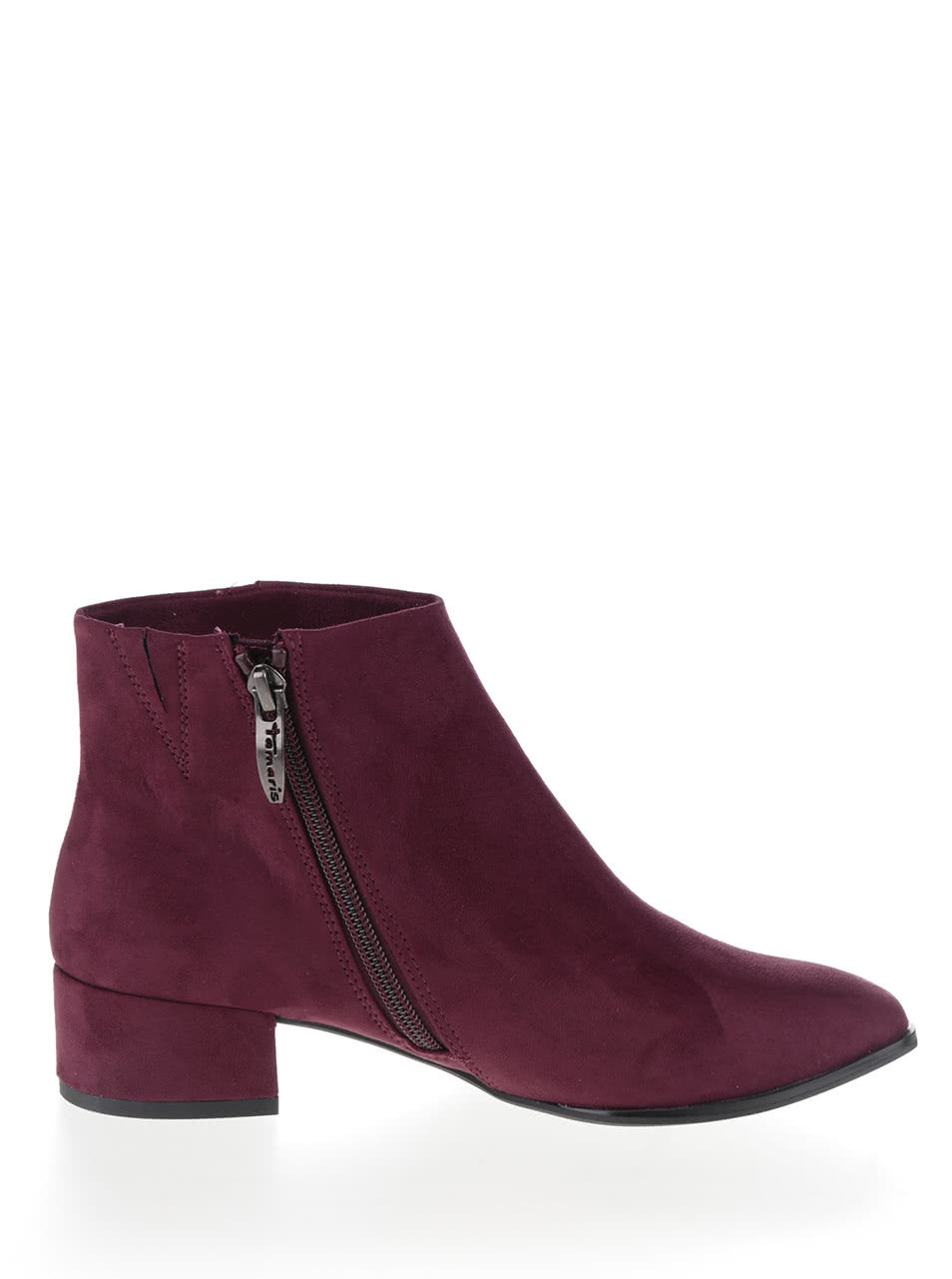 44d3a7a09b90 Vínové členkové topánky v semišovej úprave Tamaris ...