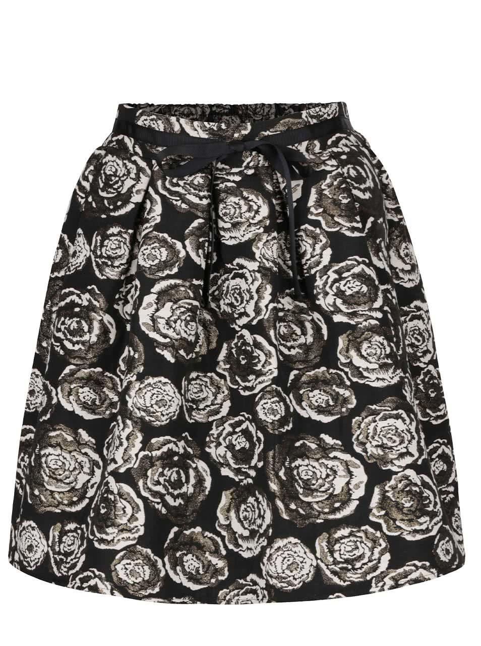 Černá květovaná sukně ve zlaté barvě VERO MODA Daisy ... dbf0d24756