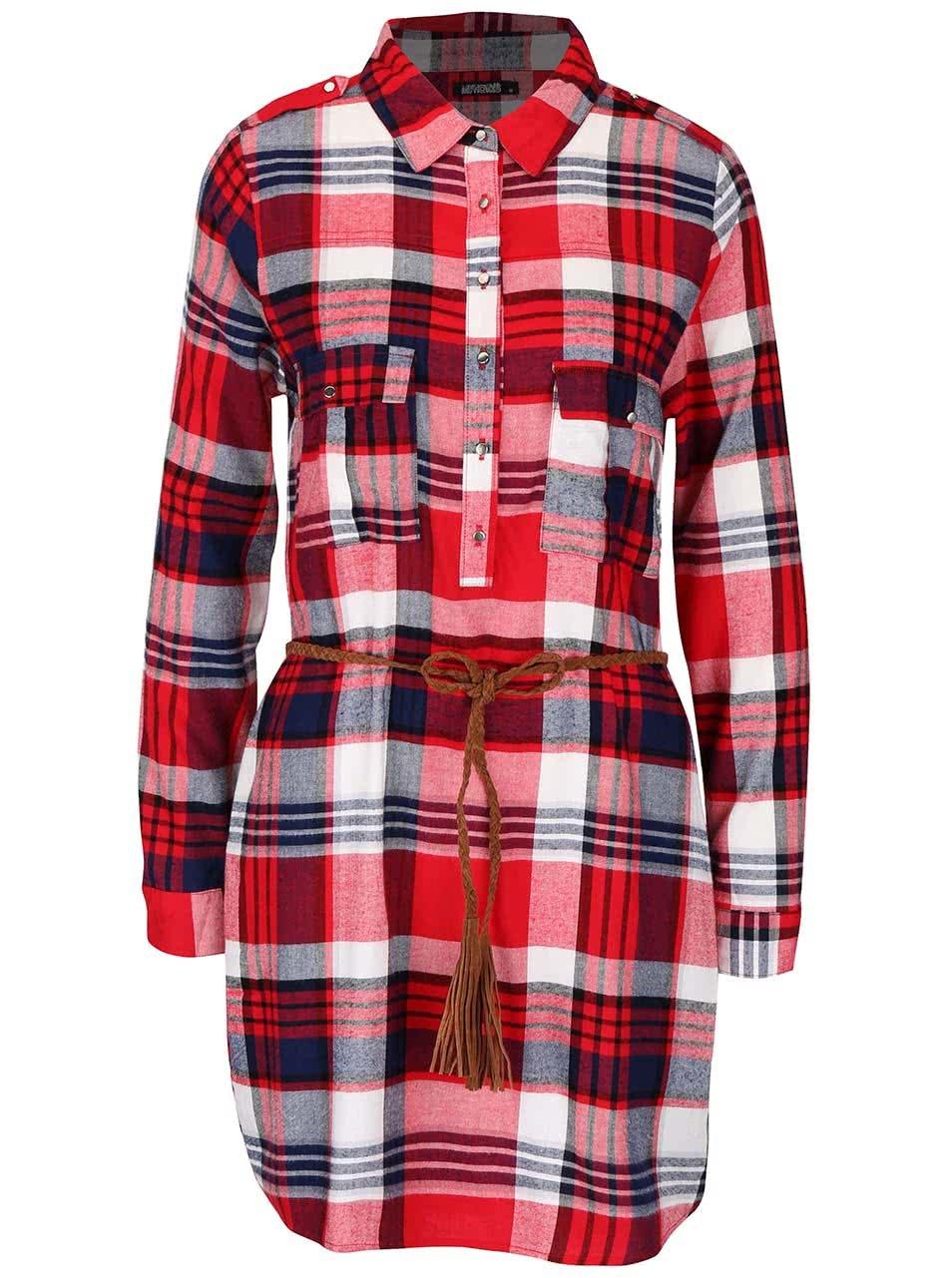 064d7b577754 Modro-červené kostkované košilové šaty s tenkým páskem Haily s Patty ...