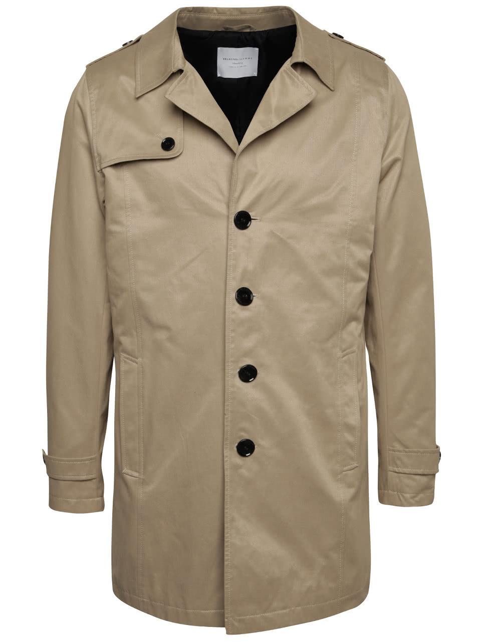 Béžový kabát Selected Homme New Adams ... 6ee675624b9