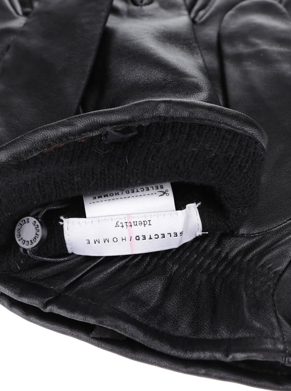 4560f5a1475 Černé kožené rukavice Selected Homme Jonas ...
