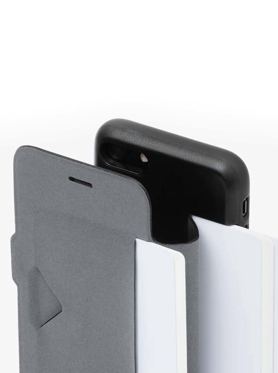 Černý kožený kryt pro iPhone 7 s přihrádkou na platební karty Bellroy