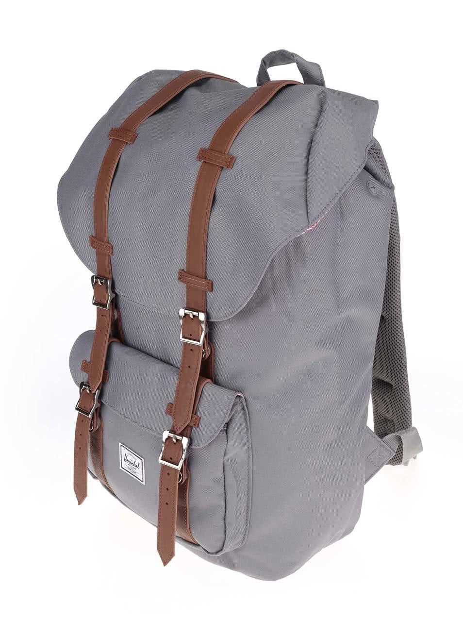 Šedý batoh s hnědými popruhy Herschel Little America 25 l