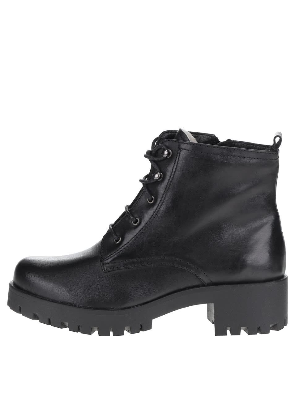 Čierne členkové kožené šnurovacie topánky Tamaris ... 32e455c89b7