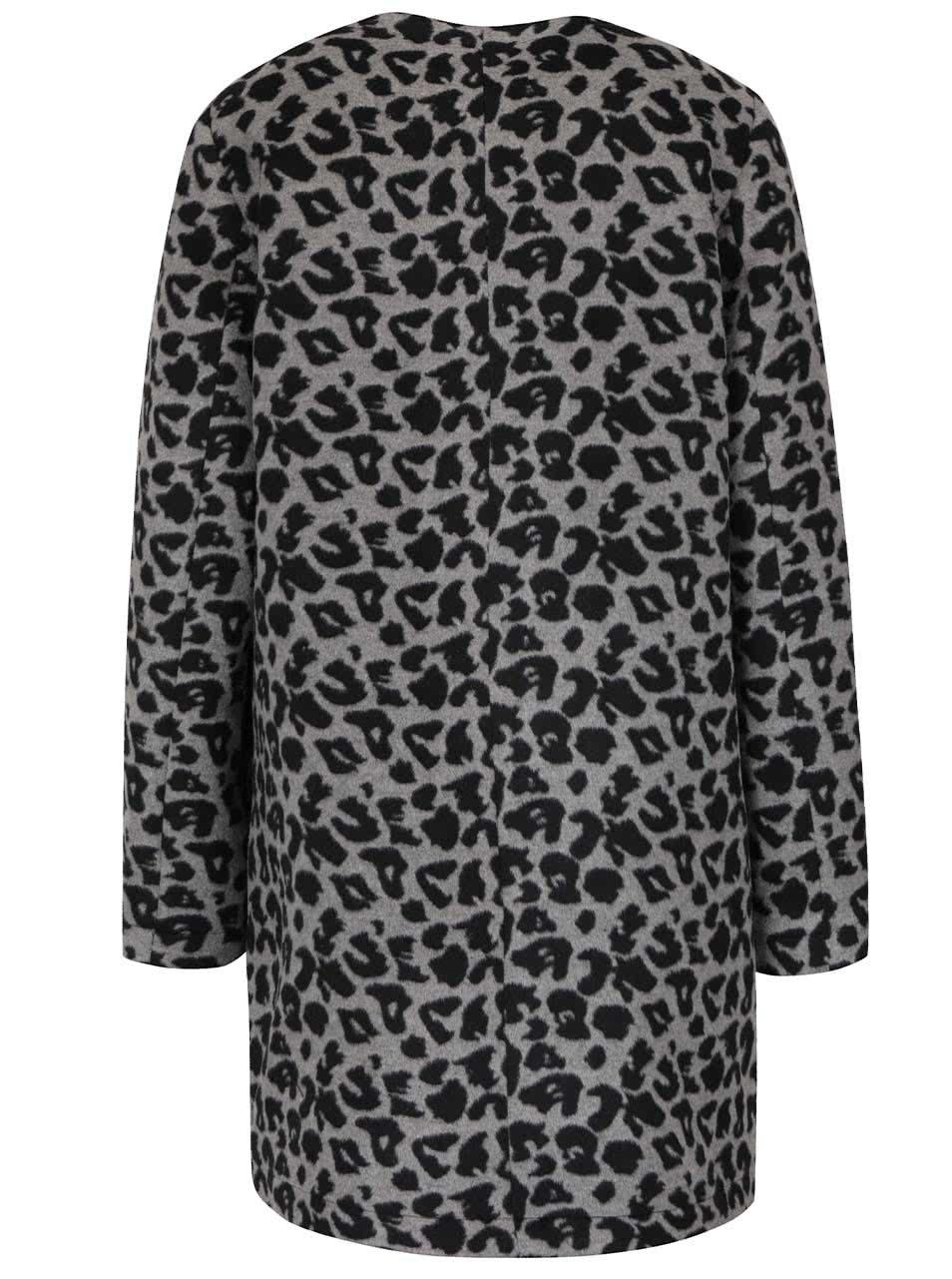 1ee18ff916 Čierno-sivý kabát s leopardím vzorom Dorothy Perkins ...
