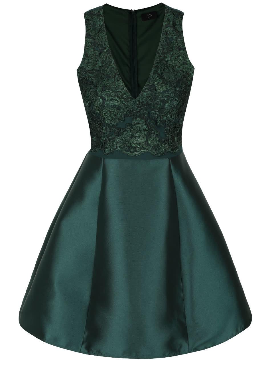 a62681127b Tmavozelené šaty s čipkou AX Paris ...