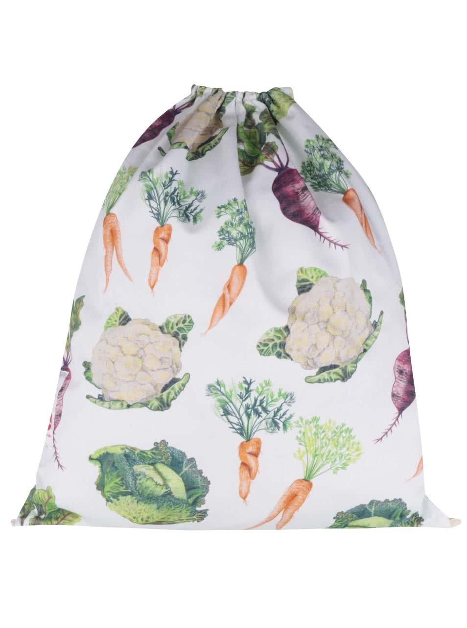"""""""Dobrý"""" bílý vak s potiskem zeleniny pro Zachraň jídlo"""