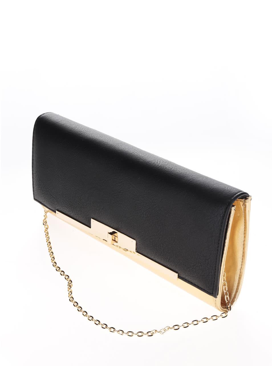 5b64959a7c Listová kabelka v čierno-zlatej farbe s retiazkou Miss Selfridge ...