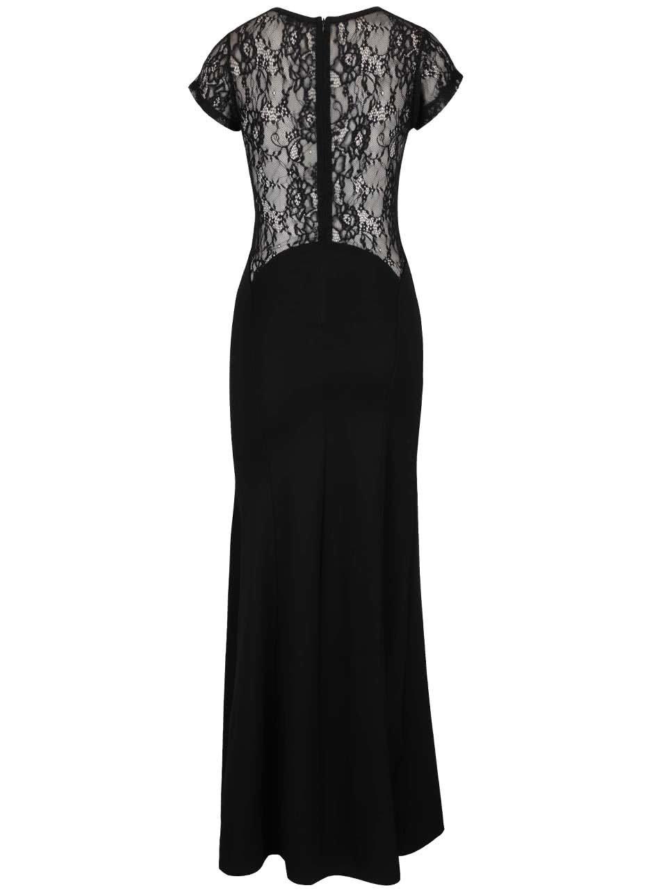 Černé dlouhé šaty s krajkovými detaily TALLY WEiJL ... d310e8f357
