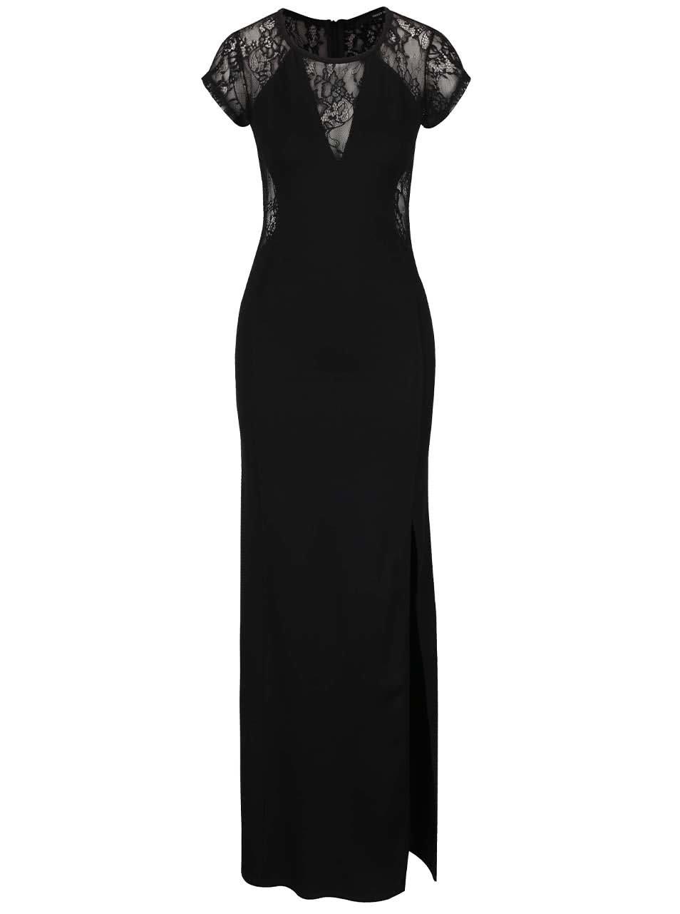 Čierne dlhé šaty s čipkovanými detailmi TALLY WEiJL ... 7aed3cbd3e9