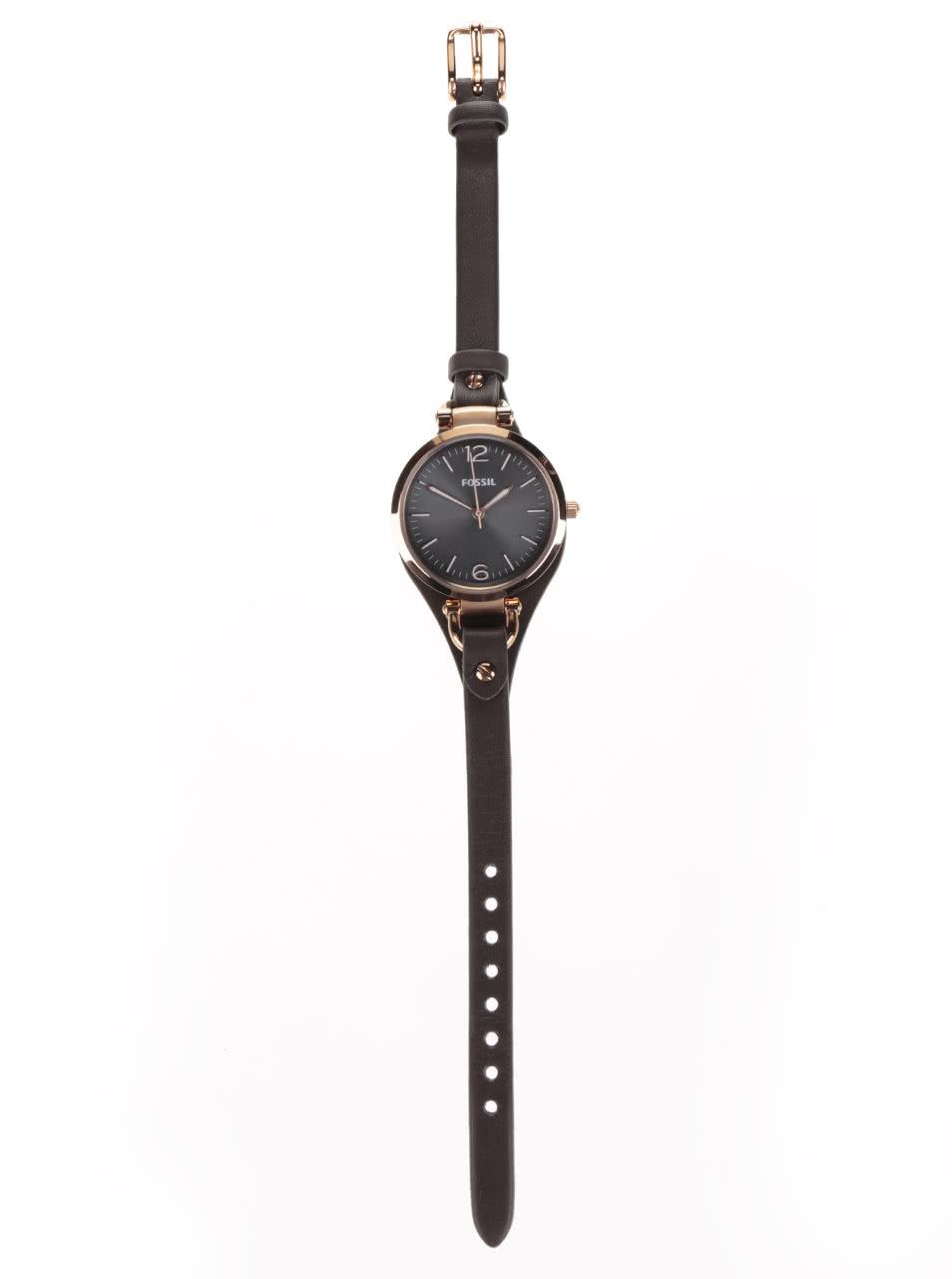 Dámské hodinky ve zlaté barvě s tmavě hnědým koženým páskem Fossil Georgia  ... c1d66aa204