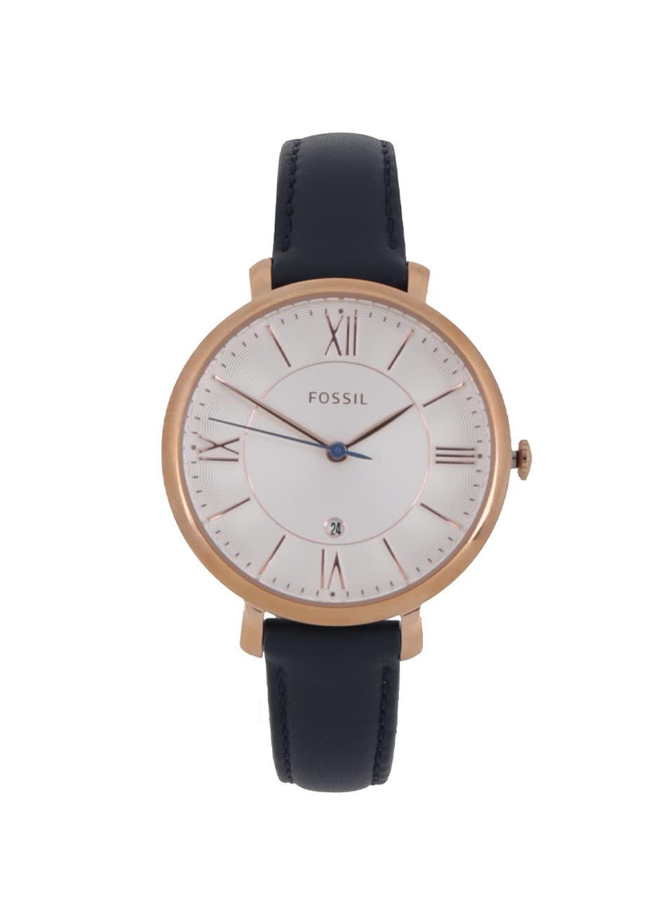 Dámské hodinky ve zlaté barvě s tmavě modrým koženým páskem Fossil  Jacqueline ... 7f4878852a