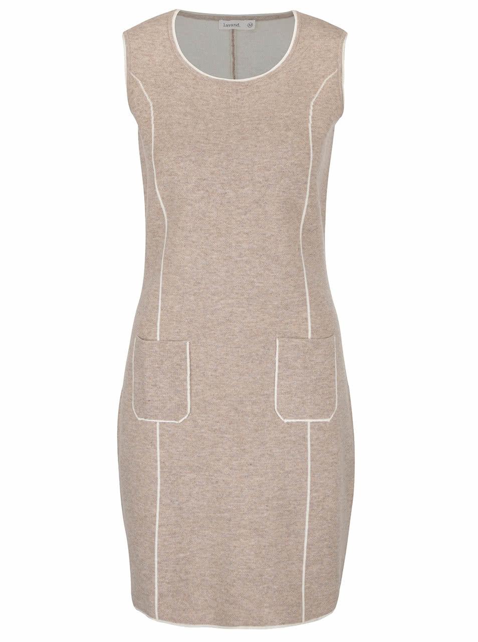 Béžové svetrové šaty bez rukávů Lavand ... 930ca3fd6d5