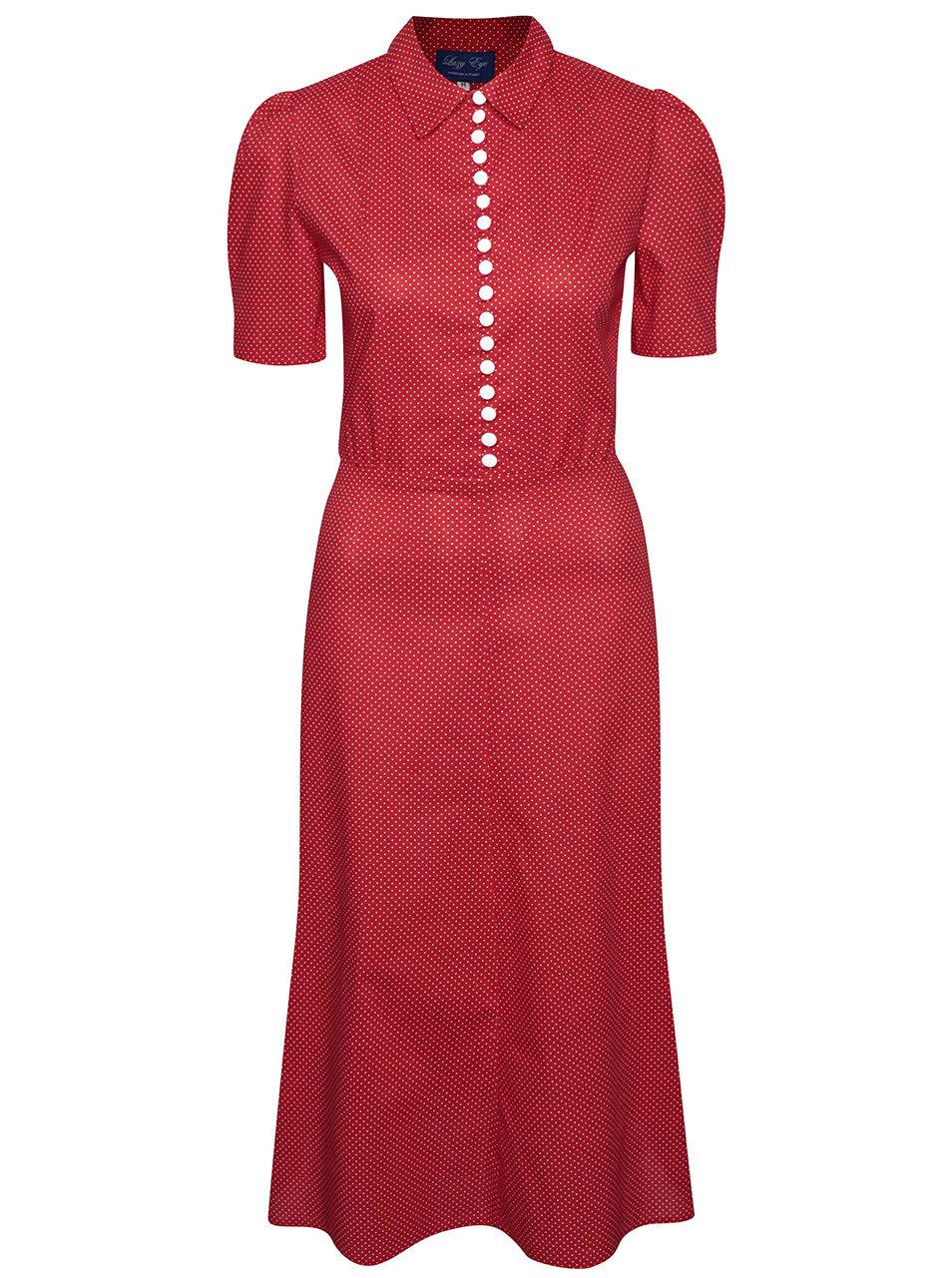 Červené bodkované retro šaty s gombíkmi Lazy Eye Marlen ... e48ab111ebc