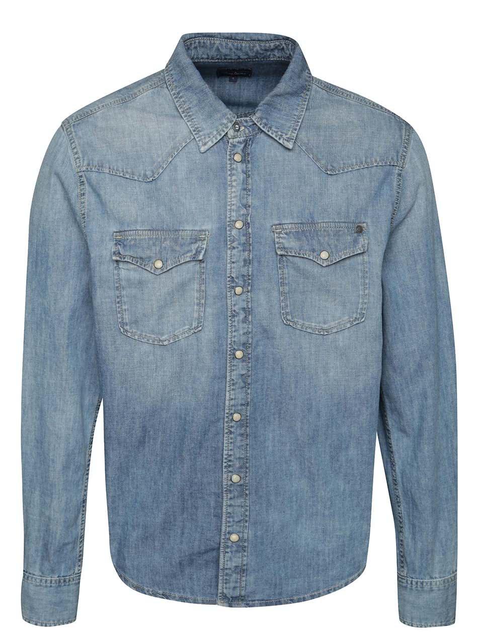 Modrá pánská džínová košile Pepe Jeans Carson ... 2e2e74cb4f